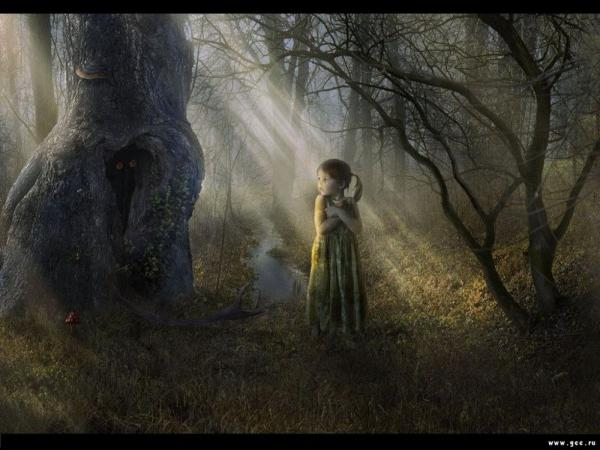 little girl in the dark forest